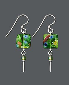 Jody Coyote Sterling Silver Earrings, Small Square Green Glass Drop - Earrings - Jewelry & Watches - Macy's