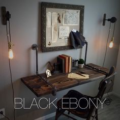 Unique and industrial, this beauty has been created to serve not only your functional needs, but your aesthetic needs as well. This wall-mounted wood desk features a dark semi-transparent ebony stain (or gray if you choose) to show the beautiful natural wood grain and texture. Then anchored to the wall with heavy black iron iron pipe brackets. This desk is not only sturdy, it has a one-of-a-kind design. Our floating wall desk is not your average, puny floating wall shelf or desk. This…