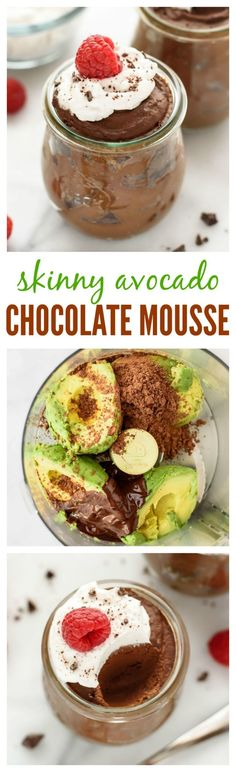AMAZING gluten-free egg-free dairy-free and vegan dessert! This Avocado Chocolate Mousse tastes rich and decadent but is virtually guilt free. Super easy ready in 5 minutes and you can't taste the avocado! Vegan Sweets, Healthy Desserts, Delicious Desserts, Yummy Food, Healthy Recipes, Simple Recipes, Free Recipes, Keto Recipes, Bon Dessert