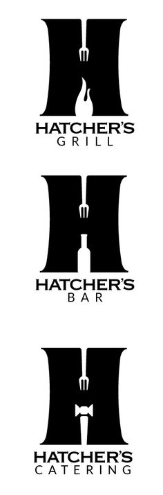 A Suite of Logos for Hatcher's Grill, Bar & Catering. Bar Catering, Portfolio Design, Creative Design, Grilling, Logos, Crickets, A Logo, Backen, Logo