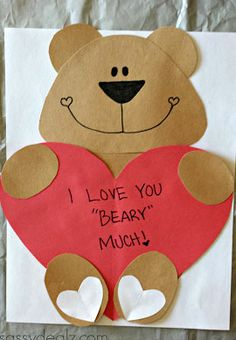Click Pic for 25 DIY Valentines Day Cards for Kids | Heart Bear Card | Easy-to-make homemade Valentine's Day Cards