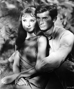 Publicity stills of Audrey Hepburn and Anthony Perkins in Green Mansions, It was one of the few critical and box office failures of Hepburn's career. Audrey Hepburn Pictures, Audrey Hepburn Born, British Actresses, Hollywood Actresses, Actors & Actresses, Classic Hollywood, Old Hollywood, Anthony Perkins, Cinema