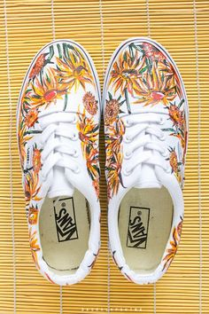 b3d60f8b3e0496 Hand painted Van Gogh s Sunflowers Sneakers