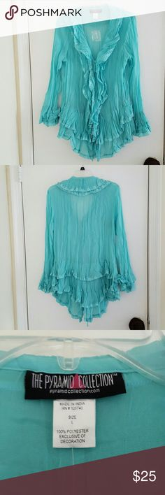 Turquoise top Turquoise ruffled sheer tunic top. Long sleeves. The Pyramid Collection Tops Blouses