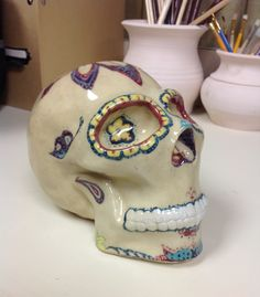 Ceramics II, hand built, underglaze design.