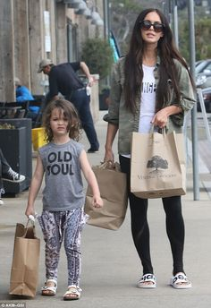 Lookalikes: Both mommy and son wore leggings and while Noah rocked a t-shirt with 'old soul' on the front, his actress mother had on a white t-shirt under a khaki shirt