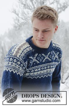 Maglione DROPS con il jacquard norvegese in Karisma. Dalla S alla XXXL. Nordic Pullover, Nordic Sweater, Men Sweater, Drops Design, Sweater Knitting Patterns, Free Knitting, Knit Basket, Fair Isle Pattern, Mens Jumpers