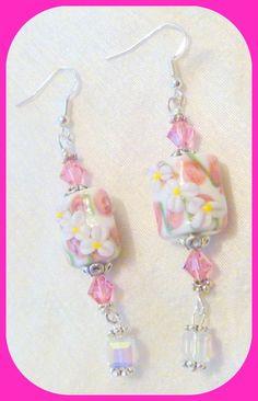 Pink Lampwork and Crystal Beaded Earrings #Handmade #DropDangle
