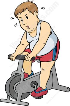 Overweight man in red shorts and a white tank top riding a stationary bike #challenge #diet #exercise #fat #fitness #health #large #lose-weight #man #overweight #short-hair #stationary-bike #sweat #weight-loss
