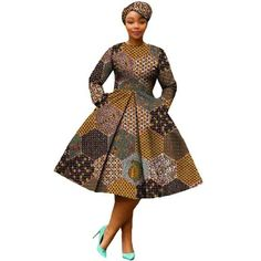 African Dress Women Full Sleeve Calf-Length Ball Grown Casual Dress with - Alles über Damenmode Short African Dresses, Short Beach Dresses, African Print Dresses, African Print Fashion, Africa Fashion, African Fashion Dresses, African Fashion Designers, African Traditional Dresses, Mode Hijab