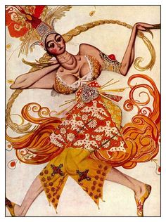 By Leon Bakst, 1 9 1 Costume design for The Firebird. (it was the first ballet in which Stravinsky collaborated with Sergei Diaghilev, Bakst, and the Ballet Russes). Georges Braque, Theatre Costumes, Ballet Costumes, Russian Ballet, Russian Art, Art Nouveau, George Balanchine, Motif Floral, Dark Fantasy Art