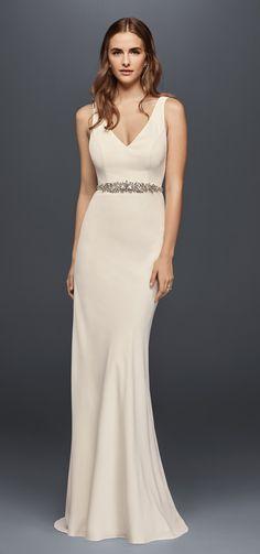 Jeweled Crepe Sheath Wedding Dress with Low Back | David's Bridal Spring 2017 @davidsbridal #davidsbridal #wedding #ad #bridal #weddingdress