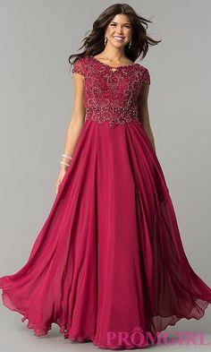 9e73a86adc Long Cap Sleeve Embellished Bodice Prom Dress
