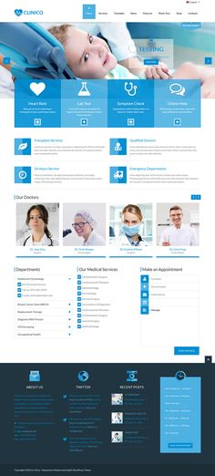 Clinico is a very powerful #Medical and Health Theme suitable for medical and health related businesses. Its fresh and clean design makes it applicable for corporate #websites, personal blogs, product-oriented sites as well to download click on the image.