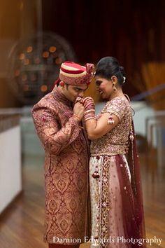 Indian wedding bride groom portrait first look Indian Wedding Fashion, Indian Wedding Couple, Indian Bride And Groom, Wedding Couples, Bride Groom, Wedding First Look, Wedding Styles, Weddings, Portrait