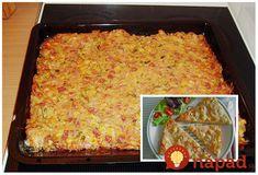 Perfektný recept na pizzu, ktorý si zamilujete najmä vtedy, keď nebudete stíhať pripravovať zdĺhavé jedlá. Chutí výborne a môžete použiť prísady, ktoré máte radi. Potrebujeme: 250 ml mlieko 3 (S) vajcia 250 g saláma nakrájaná 250 g syr nastrúhaný 200 g hl. múka Voliteľné: 1 malá plechovka sterilizovanej kukurica alebo húb huby, olivy… 1 paprika... Dumplings, Quiche, Lasagna, Macaroni And Cheese, Toast, Brunch, Food And Drink, Pizza, Bread