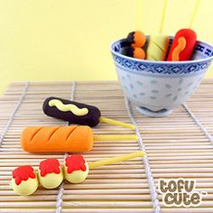 6 clay creations on a stick from tofu cute