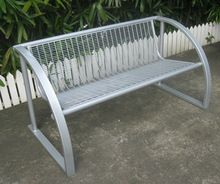 metal outdoor bench. welded wire cloth seat pan.