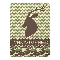 Chevron Pattern Buck Camouflage Monogram Baby Blanket
