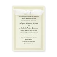 """Claridge Wedding Invitations by TheAmericanWedding.com: Product Description An exceptionally tasteful invitation. This Ecru or White single card is the perfect choice for the sophisticated bride. A stylish, clean pearl border elegantly frames your wording. Invitation Size: 5 1/2"""" x 7 3/4"""" Invitation Style: Flat Accessory Cards Size: 5"""" x 3 1/2"""" Accessory Card Style: Folded Assembly Required Ink Type: Raised"""