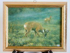 NORWEGIAN Jan Petter Bratsberg Deers Framed Art Tile Porcelain Wall Hanging