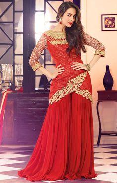 USD 72.35 Malaika Arora Khan Red Net Designer Suit 56037