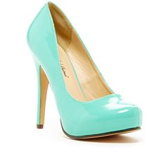 Michael Antonio Love Me Patent Pump (£8.64) ❤ liked on Polyvore featuring shoes, pumps, mint, almond toe platform pumps, platform shoes, platform slip on shoes, mint green platform pumps and patent leather shoes
