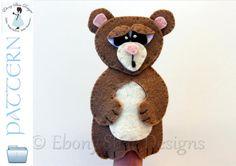 Felt Bear Finger Puppet Pattern. INSTANT DOWNLOAD by EbonyShae