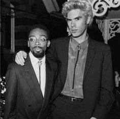 "Spike Lee and Jim Jarmusch at the opening night screening of ""Down by Law"" at the 24th New York Film Festival in 1986"