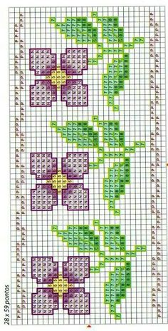 flowers in cross stitch - chart Cross Stitch Bookmarks, Cross Stitch Borders, Crochet Borders, Cross Stitch Flowers, Counted Cross Stitch Patterns, Cross Stitch Charts, Cross Stitch Designs, Cross Stitching, Cross Stitch Embroidery