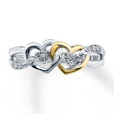 Diamond Promise Ring Sterling Silver 10k Gold
