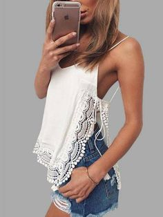 Summer Sexy Tanks Top Women White Solid Side Split Spaghetti Strap T Shirt Female Lace Tops uk Front long blusa haut femme Spandex Comf Summer Outfits, Casual Outfits, Cute Outfits, Fashion Outfits, Fashion Fashion, Fashion Trends, Womens Fashion, Spring Fashion, Top Mode