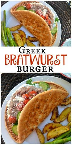 Greek Bratwurst Burger with roasted Greek Potatoes easymeatrecipes Easy Meat Recipes, Burger Recipes, Potato Recipes, Pork Recipes, Lunch Recipes, Easy Dinner Recipes, Wine Recipes, Great Recipes, Easy Meals