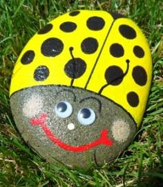 Rock Hand Painted Yellow Bug  Treasury Item by KathiJanes on Etsy, $10.95
