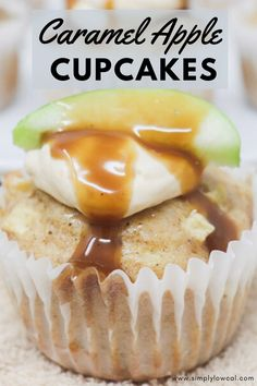 Caramel apple cupcakes use fresh Granny Smith apples and are the perfect Fall treat. Complete with a butterscotch and caramel topping. | Simply Low Cal @simplylowcal #caramelapplecupcakes #butterscotchfrosting #caramelsauce #cupcakerecipe #falldessertrecipe #simplylowcal