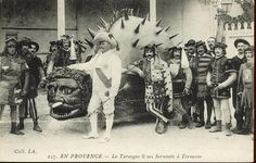 A crazy French dragon called La Tarasque - part bear, turtle, ox, scorpion?  #dragon #mythology #sculpture #weird #historical #old #Photograph #french #cryptozoology #bizarre #curiosity #curiositycabinet