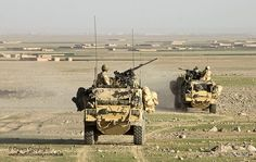 Two Jackal armoured vehicles of 3 Commando Brigade, Royal Marines are pictured on patrol during Operation Fibonacci in the vicinity of Kuh-e Baba and Shin Ghar, Helmand, Afghanistan.