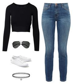 """""""Untitled #3726"""" by twerkinonmaz ❤ liked on Polyvore featuring Current/Elliott, Lacoste and Yves Saint Laurent"""
