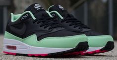 timeless design 0d317 e9481 Another look at Nike Air Max 1 FB Black Fresh Mint-Pink Flash, sporting a  black textile-and-leather upper, mint leather mudguard and contrast pink on  the.
