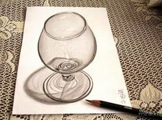 illusions drawings a glass of brandy .Skilled artists already able to create detailed images pencil, but when a person reaches this skill in perspective and three-dimensional space, his art - both literally and figur 3d Pencil Drawings, 3d Art Drawing, Graphite Drawings, Realistic Drawings, Drawing Skills, Pencil Art, Graphite Art, Sketch Drawing, Drawing Ideas