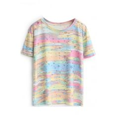 Rainbow Print Round Neck Short Sleeve Tee (31 PEN) ❤ liked on Polyvore featuring tops, t-shirts, beautifulhalo, round neck t shirt, short sleeve tee, round neck top, short sleeve tops and rainbow t shirt