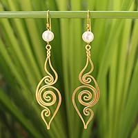 Gold plated pearl dangle earrings, 'Seashell'