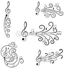 Music. Treble clef and notes for your design. by hi6un - Stock Vector