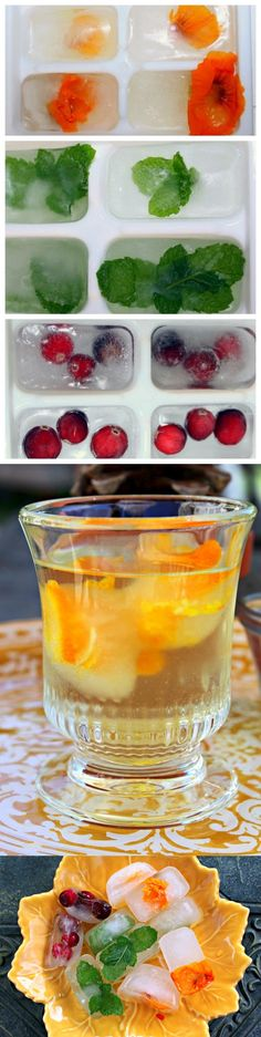 How to make floral, fruit, and herb ice cubes smoothies & healthy drink Super Healthy Recipes, Healthy Foods To Eat, Healthy Smoothies, Healthy Drinks, Healthy Dinner Recipes, Great Recipes, Healthy Snacks, Healthy Eating, Cooking Recipes