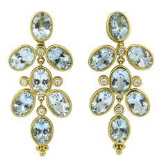 Temple St. Clair ~ Oval Aquamarine Diamond Gold Drop Earrings