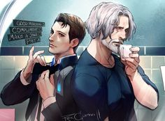 Detroit become human Connor and Hank By: rex-clypeus
