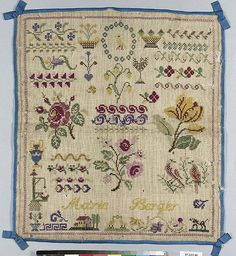 Sampler Date: 19th century Culture: French Medium: Silk on wool canvas Dimensions: H. 14 1/2 x W. 13 inches (36.8 x 33 cm) With bows: H. 16 x W. 14 1/4 inches (40.6 x 36.2 cm) Classification: Textiles-Embroidered Credit Line: From the Collection of Mrs. Lathrop Colgate Harper, Bequest of Mabel Herbert Harper, 1957 Accession Number: 57.122.46