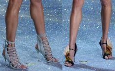Models wear standout heels from Nicholas Kirkwood and Sophia Webster on the Victoria Secret Fashion Show runway, November 13, 2013