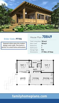 Tiny House Plan 70849 | Total Living Area: 750 SQ FT, 2 bedrooms and 1 bathroom. Exposed rafters give this modern design rustic style. This home is perfect for small home enthusiasts. #tinyhome