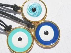 Evil Eye Greek Mati Tallisman Gold tone and Blue tones Necklace Evil Eye Jewelry, Evil Eye Necklace, Greek Evil Eye, Eye Protection, Blue Tones, Geometric Art, Washer Necklace, Personalized Items, Eyes